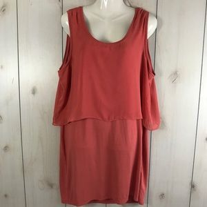 Metaphor Coral Sleeveless Chiffon Layer Dress XL